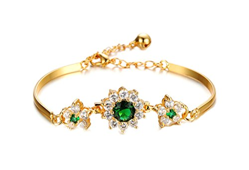 ANAZOZ Schmuck Damen Mode Armband Gold 18K Vergoldeten Hochzeit Verlobung Smaragd - Verstellbar Größe