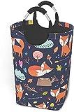 Cestas de lavandería Paquete de ropa sucia Cómic sin costuras Dibujos animados Cute Fox Vector Bolsa de ropa de tela plegable Papelera de lavado