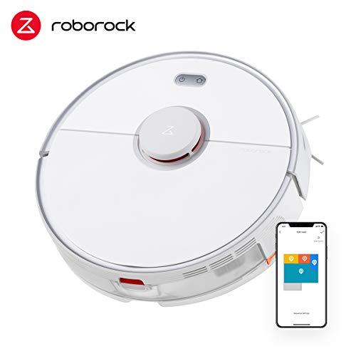 Roborock S5 Max Saugroboter mit Wischfunktion, Staubsauger Roboter mit Elektrischer Wassertank, APP-Steuerung, Wisch-Sperrzonen, Laser-Navigation für Tierhaare, Teppiche und Hartböden (Weiß)