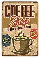 屋内および屋外のホームバーのためのコーヒービンテージスタイルの金属サイン鉄の絵コーヒーキッチンの壁の装飾8X12インチ