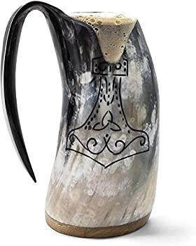 Norse Tradesman Genuine Viking Drinking Horn Mug - 16 oz Premium Viking Beer Tankard with Super-Reinforced Hardwood Bottom and Thor s Hammer Engraving    The Mjolnir  Polished Large