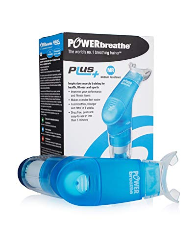 POWERbreathe - Breathing Exercise Device, Breathing Trainer and Therapy Tool to Strengthen Breathing Muscles and Help Lung Capacity, Handheld Inspiratory Muscle Trainer - Blue, Medium Resistance