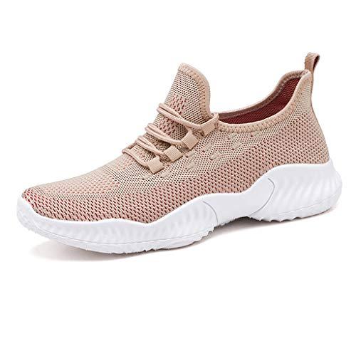 TOYS Zapatillas Running Hombre Zapatos Deportivas Liviano Sneakers para Correr Aire Libre Y Deporte Transpirables Casual Zapatos Gimnasio Sneakers,Beige,42
