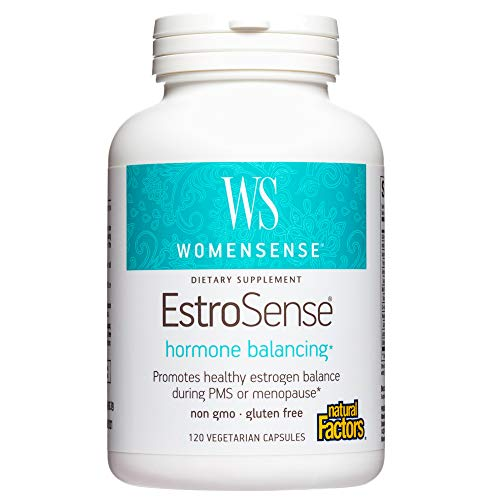 WomenSense EstroSense by Natural Factors, Natural Supplement to Support Estrogen and Hormone Balance During PMS or Menopause, Vegan, Non-GMO, 120 capsules (60 servings)