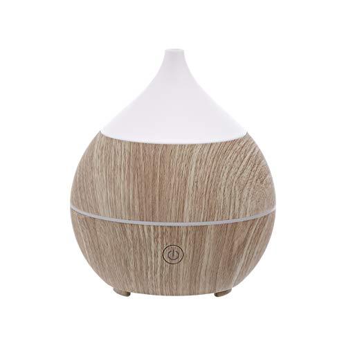 Amazon Basics Difusor de aceites esenciales ultrasónico para aromaterapia, 200ml, con altavoz Bluetooth, base con acabado de madera gris clara