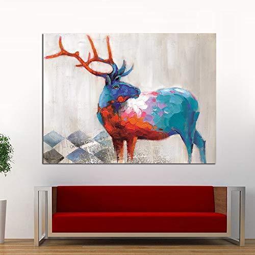 Bunte Hirsch Tier Moderne Leinwand Ölgemälde auf Plakat Grafikdruck Schlafzimmer Poster Wanddekoration rahmenlose Malerei 60x90cm