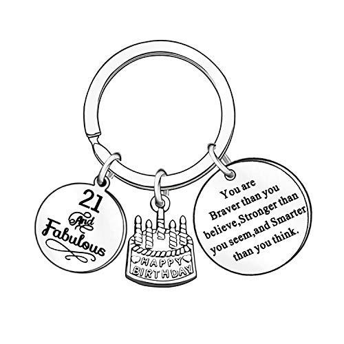 13th 16th 18th 21st 30th 40th 50th 60th 70th Birthday Gifts for Women Men Keyrings Key Rings Family Presents Anniversary Jewellery (21st)