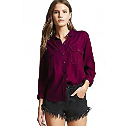 Adiba Double Pocket Wine Shirt for Womens