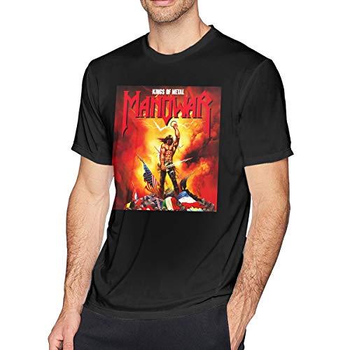 Patrick R Garrett Herren Kurzarm T-Shirt Manowar-Kings-of Metal gedruckt sportlich lässig T-Shirts für Männer stilvolle Top