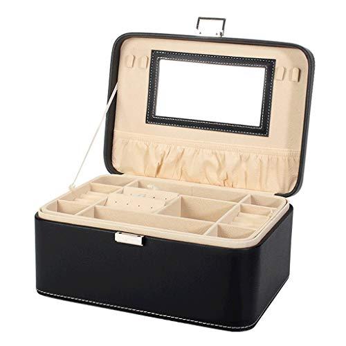 CWT Caja de joyería 26.5 * 19 * 12 cm Caja de Almacenamiento Caja de joyería de Gran Capacidad for el hogar Caja de Pendiente de Anillo Simple (Color : Black)
