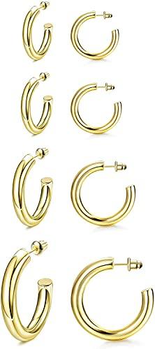 Milacolato 4 Paar 14 Karat plattiert Chunky Thick Creolen Set Gold Creolen für Damen | 25 mm / 30 mm / 40 mm / 50 mm