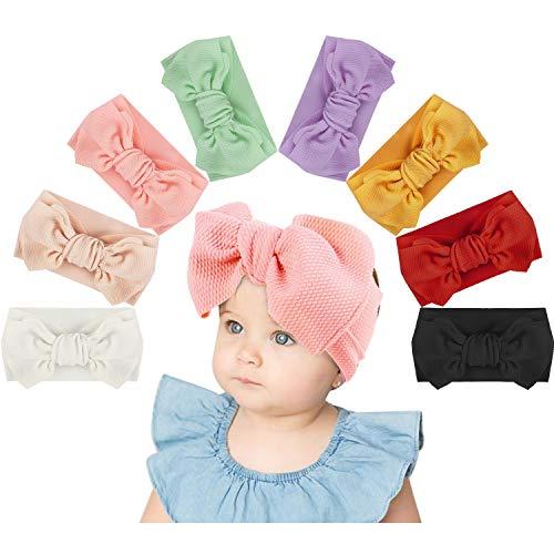 vamei 8 Piezas Bebé Niña Diademas Cintas de Pelo Diadema Elástica Turbante Bowknot Bebé Venda De Pelo De Arco 0-3 Meses (Arco pequeño)