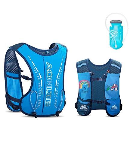 AONIJIE Mochila de hidratación para niños, 2,5 l, con bolsa de agua de 750 ml, para senderismo, bicicleta, escalada, color azul y azul