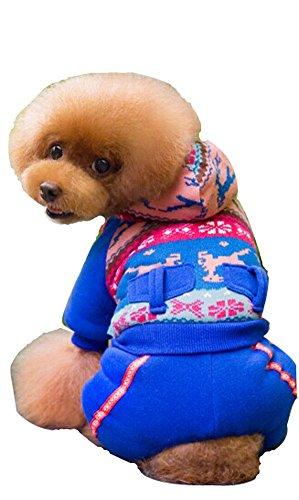confortable Coton d'hiver pour chien pour animal domestique Vêtements (Bleu, 21 x 39 x 29 cm)