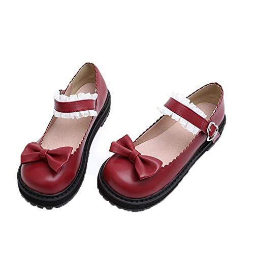Zapatos de Cuero con Plataforma para Mujer, Zapatos japoneses de Princesa Lolita de Encaje Dulce, Bonito Lazo, Zapatos de tacón bajo cómodos con Cabeza Redonda, Zapatos Mary Jane