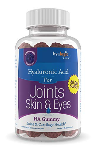 Chewy HA Gummies by Hyalogic – Mixed Berry Flavor Hyaluronic Acid Gummies – Gluten-Free Gummy Vitamins for Adults - HA Supplement for Joints, Skin & Eyes –60 Count (120 mg)