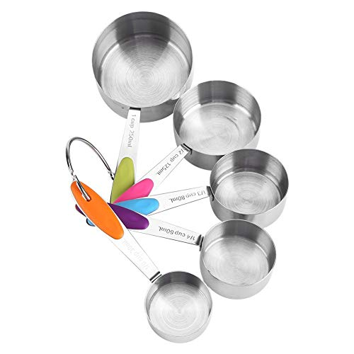 Tazas medidoras - 5pcs/set Kit de tazas medidoras de acero inoxidable Azúcar Café Leche Aparatos de cocina Herramientas para hornear