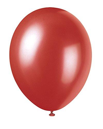 Unique Party - Globos Perlados de Látex - 30 cm - Color Rojo - Paquete de 8 (80083)