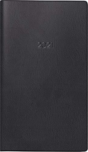 Brunnen 1074628901 Taschenkalender/Faltkalender Modell 746, 2 Seiten = 1 Monat, 8,7 x 15,3 cm, Kunststoff-Einband schwarz, Kalendarium 2021