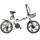 Bicicleta Plegable, Hombres Y Mujeres Adultos, Velocidad Variable, Ultraligeras Y PortáTiles, Bicicletas Carretera PequeñAs 16/20 Pulgadas, Freno Disco Doble Amortiguador