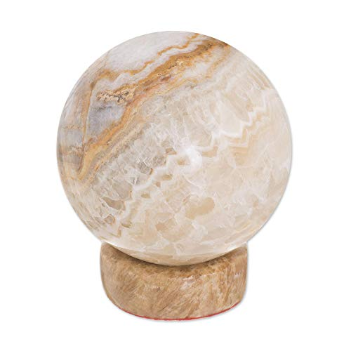 NOVICA Light Brown Calcite and Jasper Natural Gemstone Round Geometric Sculpture, Inner Peace'