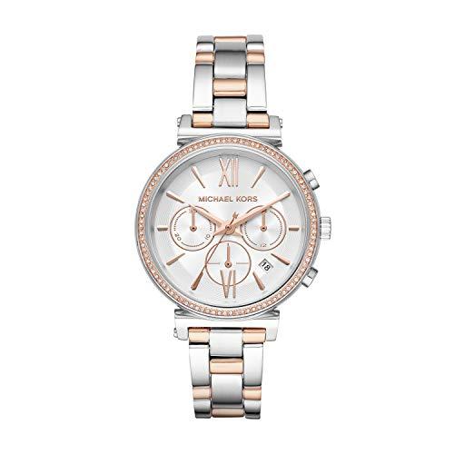 Michael Kors Damen Chronograph Quarz Uhr mit Edelstahl Armband MK6558