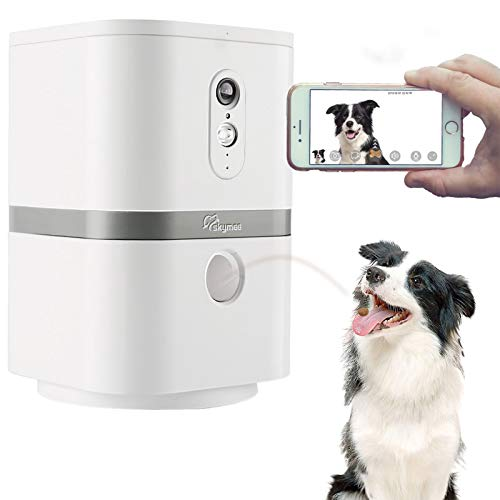 SKYMEE Petalk AI II Dog Camera Automatic Treat Dispenser WiFi Full HD Pet Camera with 180° Pan FullRoom ViewNight VisionTwo Way Audio for Dogs and CatsCompatible with Alexa 24G WiFi Only