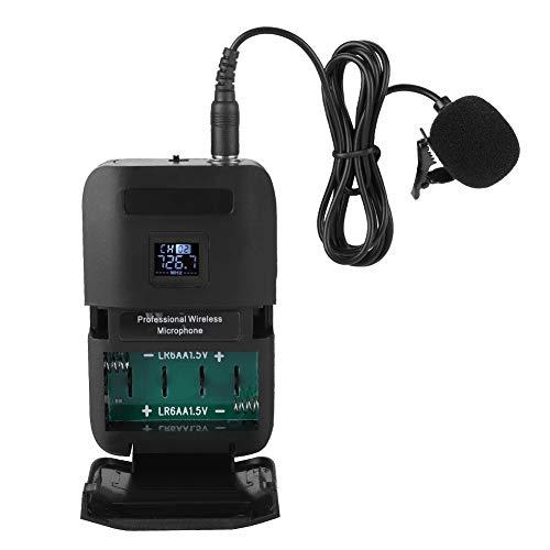 Micrófono de clip de solapa, micrófono de micrófono VHF con transmisor de receptor para capacitación en conferencias de escenario para enseñanza para tutoriales para promoción empresarial