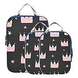 Accesorios de viaje Cubos de embalaje Hermosas coronas para niñas Organizador de equipaje Organizadores de embalaje de viaje expandibles para equipaje de mano, viajes (juego de 3)
