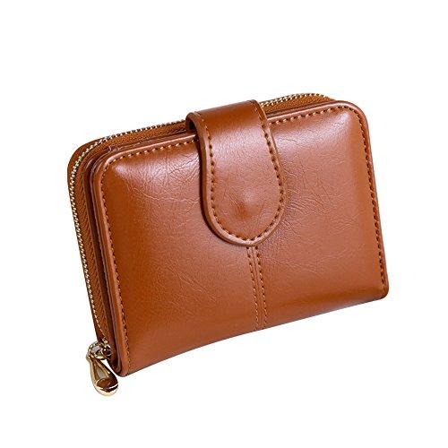 Good01 Portafoglio da donna in finta pelle, piccolo titolare della carta corta borsa regalo di Natale Marrone Etichettalia unica