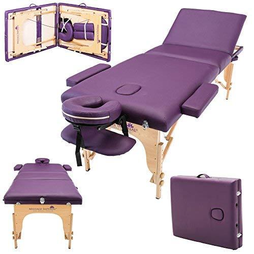 Massage Imperial Chalfont - Lettino da Massaggio Portatile PRO Luxe - 3 Zone - Pannelli Reiki - Leggera - Colore : Viola