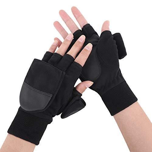 Ylucky Guantes unisex convertibles con parte superior abatible, sin dedos, con forro polar, aislantes, guantes térmicos de invierno - Negro - Medium