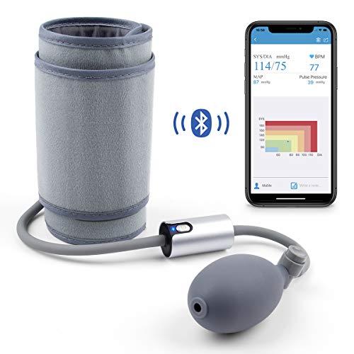 Misuratore Pressione Sanguigna da Braccio, Sfigmomanometro Manuale Da Braccio, Misurare Pressione Arteriosa e frequenza cardiaca, Connessione Bluetooth per App con Apple Health