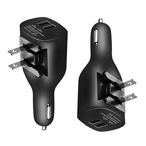 NDLBS 2Pack USB Car Charger,2-in-1 Portable USB Car Charger with Foldable Plug Wall Charger Compatible with iPhone X XR XS 7 8 Plus Note 8 9 Galaxy S8 S9 Plus LG Pixel