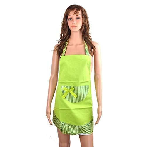 JJFU Schort Koken Schort Strepen Patroon Zacht Canvas Mouwloos Halter-Hals Dames Schort Keuken Schort Met Pocket - Gratis Maat (Groen)