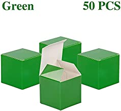 YESON Green Candy Boxes 2 x 2 x 2 Inch Small Square Mini Paper Favor Boxes,Pack of 50