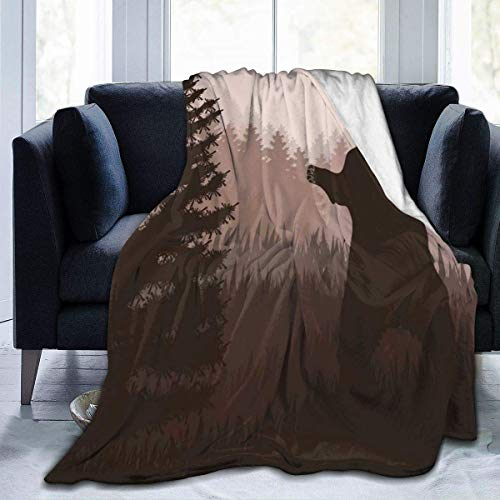 Manta Siesta Felpa Sofás Franela Tamaño Queen 150X200CM Cover Wild Bear en Jungle Woodland en Dark Night Home Garden Velvet Micro Asiento Coche Wrap 80'x60' Buen sueño Warm Lightweight Fleece Blanket