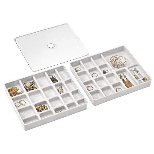 mDesign Organizador de joyas en juego de 3 piezas – Caja con compartimentos apilable con tapa – 2 cajas clasificadoras con divisiones para brazaletes, collares y demás joyas – gris claro transparente