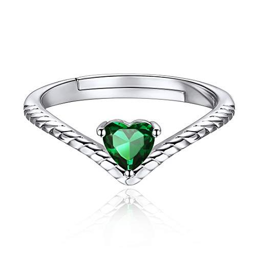 ChicSilver Mayo Esmeralda Verde Joyas Románticas para Muchachas Anillo de Plata de Ley 925 Platino