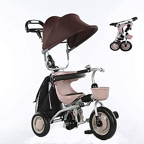 OHHG Bicicleta niños, Triciclo Triciclo Triciclo bebés Plegable, 4 en 1 Triciclo Plegable niños Andador Bicicleta 6 Meses a 5 años Plegable 3 Ruedas Empuje Peso 30 kg
