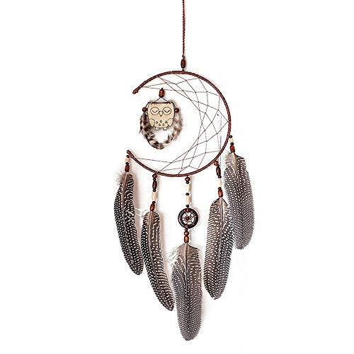 Filet Circulaire À La Main De Dream Catcher avec des Perles De Plumes De Hibou en Bois dans Une Boîte Cadeau pour La Maison Chambre Mur Voiture Suspendus Décoration Ornement Artisanat Cadeau