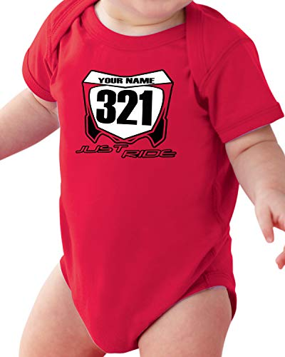 Motocross Baby Number Plate One Piece Creeper Personalized CR Red (6 Month)