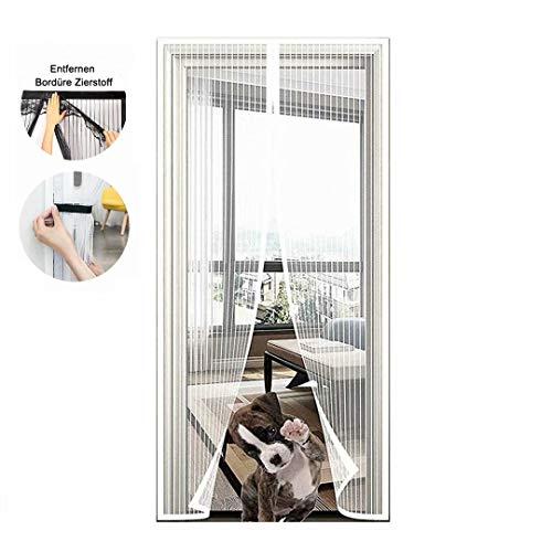 Mosquitera para puerta, magnética, cierre automático con malla resistente y cierre de velcro completo sin agujeros, para puerta de balcón, salón o terraza, color blanco, 70 x 200 cm