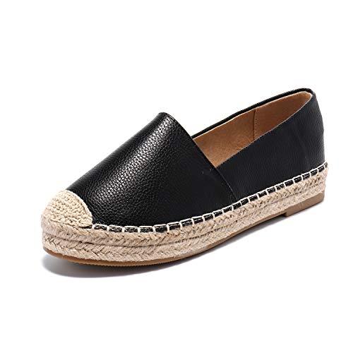 Alexis Leroy Alpargatas Mujer Slip On Loafer Zapatos Confort Planos Negro 7 UK/40 EU