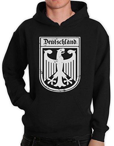 Deutschland Adler Deutsches Fan-Motiv EM Olympiade Einheit Schwarz Medium Kapuzenpullover Hoodie
