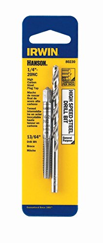 IRWIN Drill And Tap Set, 1/4-Inch - 20 NC Tap and 13/64-Inch Drill Bit (80230)
