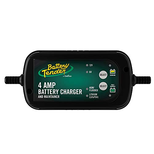 Battery Tender 4 Amp Battery Charger and Maintainer: Switchable 6V / 12V, Automotive Battery Charger and Maintainer for Cars, Trucks, and SUVs, Lead Acid & Lithium Battery Charger - 022-0209-BT-WH