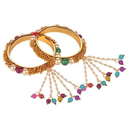 Efulgenz Modeschmuck Indische Bollywood 14 K Gold plattiert Kunstperlen Armband Brautschmuck Quaste Armreif Set (2 Stück) - 2.40