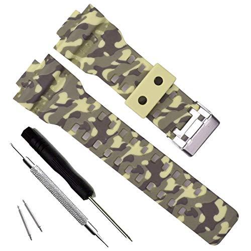 Ersatzarmband aus Naturharz für Casio G-Shock Herren-Armbanduhr GD120/GA-100/GA-110/GA-100C (Camouflage-Brown)