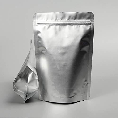 Tuokay 20 szt. torba z folii aluminiowej z zamkiem błyskawicznym, torby na żywność wielokrotnego użytku, (31 cm * 21 cm / 26 cm * 18 cm / 24 cm * 17 cm * 22 cm * 15 cm) 4 rozmiary srebrna torba do przechowywania żywności do kawy, suchej żywności, ciasteczek, orzechów, karmy dla zwierząt domowych